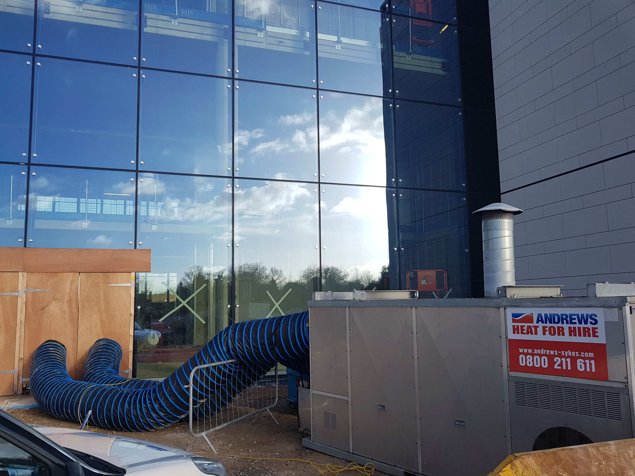 Andrews provide temporary heating to accelerate floor drying process