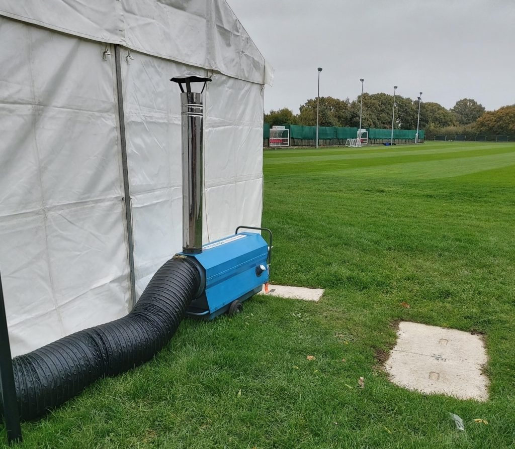 Heating arrangement delivers warmth and air changes to Charlton Athletic's temporary gym