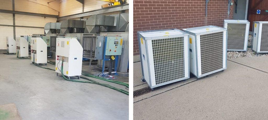 Air conditioning arrangement cools hardware at sewage treatment plant